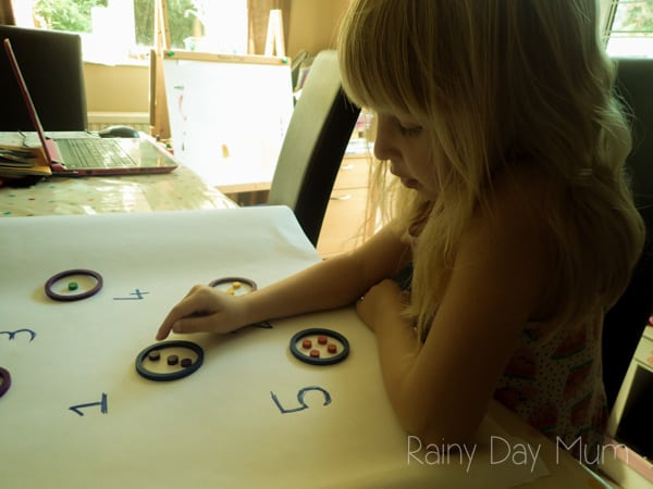 Hands on learning for number pattern recognition within the early years setting, asking How Many? for numbers 1 to 5