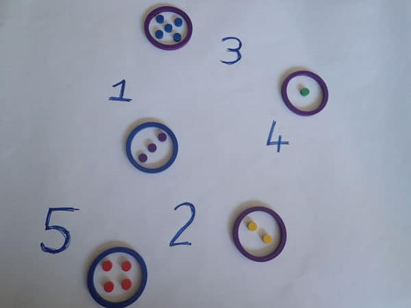 preschool math activity set up for use