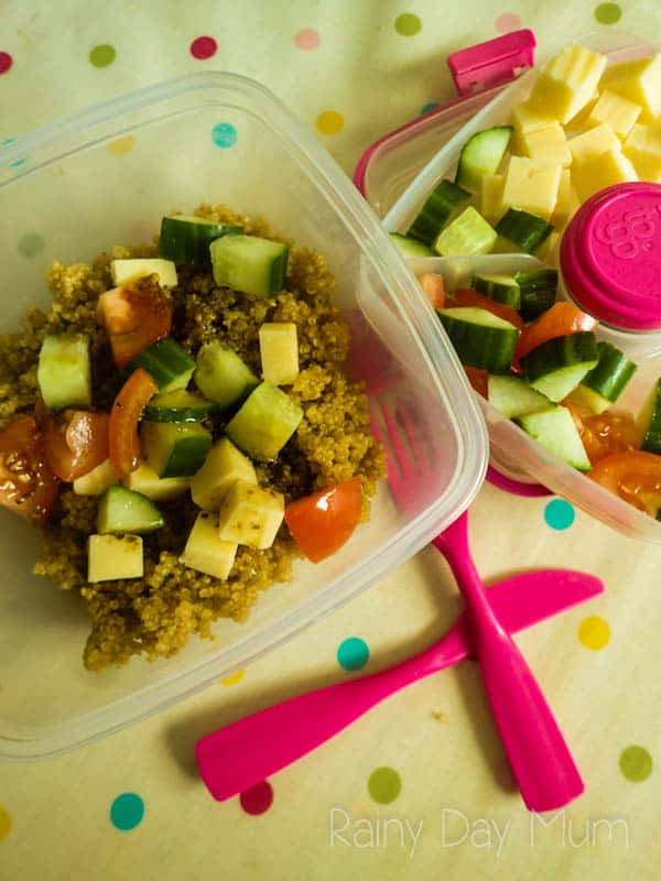 Simple Alternative to Bread lunchbox Quinoa Salad ideal for you or the kids. Easy recipe to make with the kids the night before and delicious