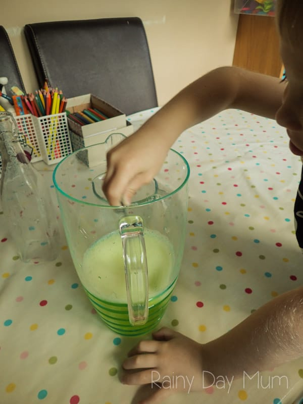 Slimey Limey Lemonade, a simple Halloween Drink Recipe for kids to make