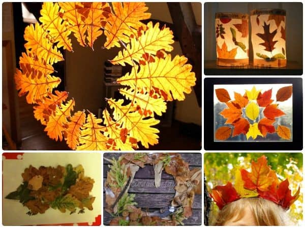 Fall leaf crafts for kids to make using real leaves