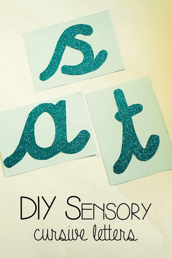 DIY Sensory Letters – Cursive Alphabet