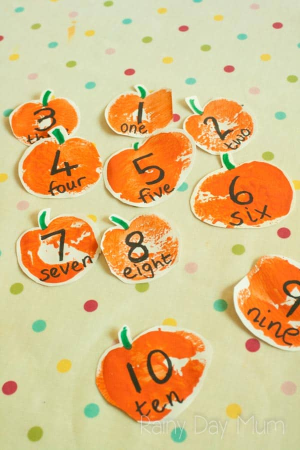 DIY Math resource for fall - create stamped pumpkins that you can use for early years math work using number lines