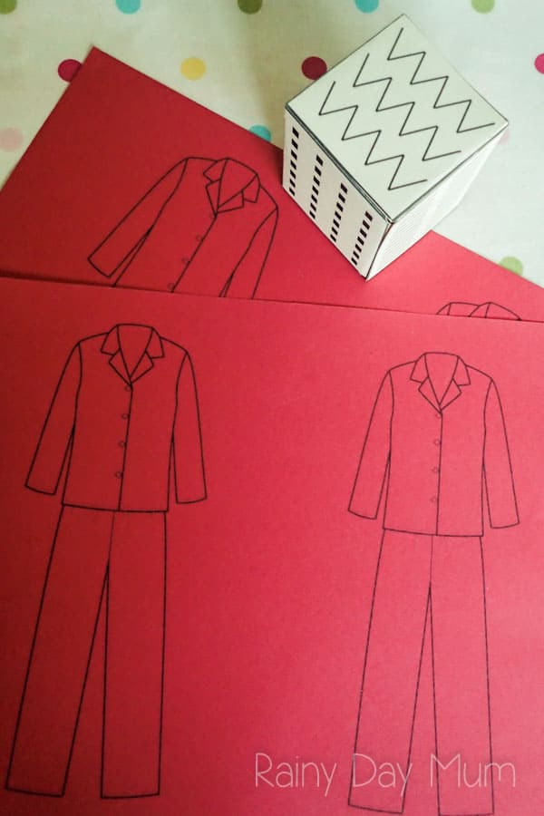 Llama Llama Red Pajama inspired pre-writing activity for preschoolers. Including FREE printable pre-writing pattern dice net to construct and use for this and many more activities