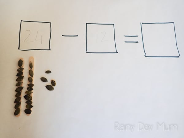 Create your own fall inspired math manipulatives with these pumpkin seed place value tools for learning and use them with early elementary children to revise and learn place value math facts