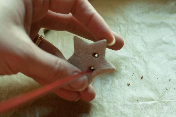 adding holes to salt dough stars