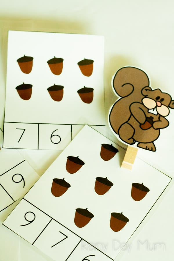 Squirrel and Acorn Counting Clip Cards - match how many acorns the squirrel has collected with the right number and work on number recognition, motor skills and 1 to 1 correspondence counting.
