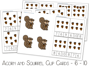 FREE Printable Acorn and Hungry Squirrel Clip Cards for counting, fine motor practice and number recognition