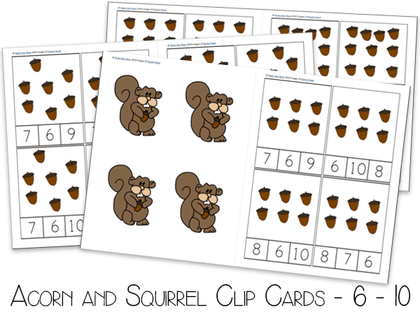 Acorn And Squirrel Clip Counting Cards