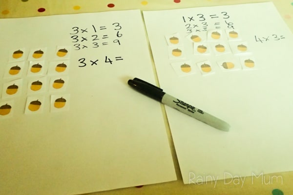 FREE printable fall themed resource for working on building number facts. Ideal for understanding that multiplication of two numbers can be done either way