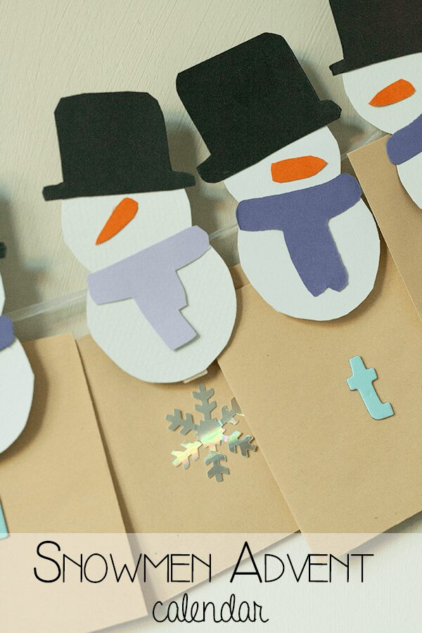 Countdown to Christmas with this simple DIY advent calendar using pegs and miniature snowmen that you can add treats of activities to.