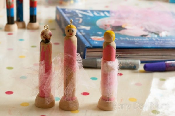 Sugar Plum Fairy Peg Doll Christmas Craft for Kids. Inspired by the book The Nutcracker create this simple Sugar Plum Fairy Clothes Peg Doll Ornament.