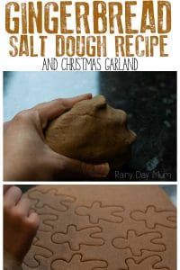 Fun recipe to make some simple gingerbread scented salt dough ideal for making Christmas decorations with. Use it to create a gingerbread garland.