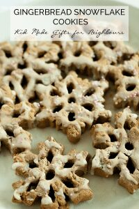 Simple Kid-Made gift of Gingerbread Snowflakes. A no-fail gingerbread recipe that will not spread and is delicious to eat as well