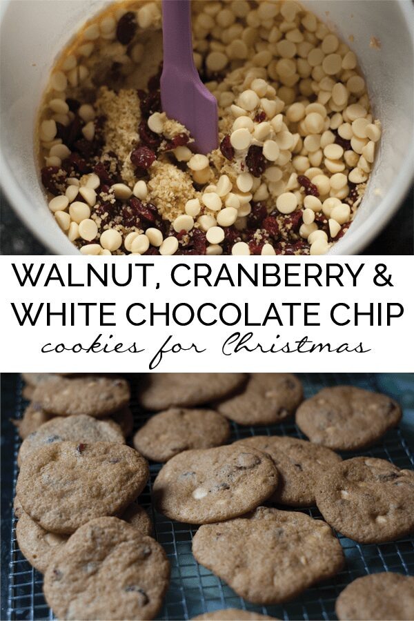 Delicious, quick and easy Christmas Cookie Recipe - walnut, cranberry and white chocolate chip drop cookies