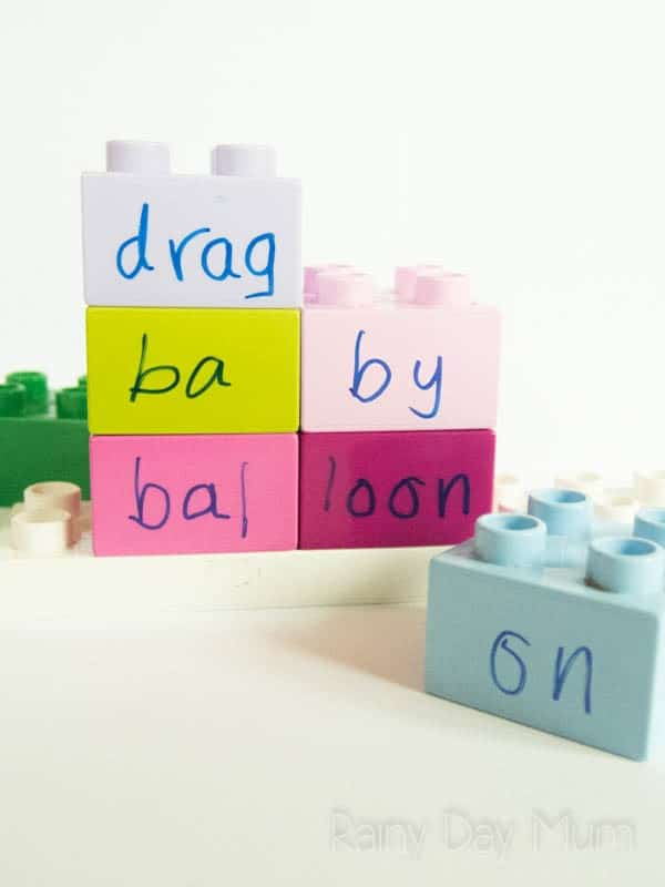 Using LEGO Duplo to divide up words and build with syllables a fun hands on activity to work with early elementary kids
