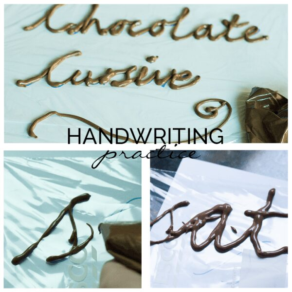 Hands-on edible handwriting practice for kids. Work on cursive handwriting with this edible activity for learning where letters join and how.