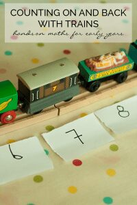 Inspired by the classic children's storybook The Little Engine that Could an early years hands-on mathematics activity to teach counting on and back