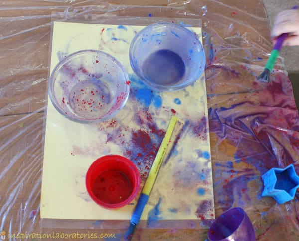 painting finished with baking soda / bicarb and vinegar and food colouring to play with colours and experiments