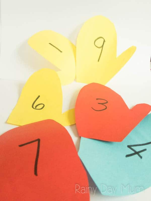 DIY math game for early years ideal for winter or to accompany the book The Mitten by Jan Brett. Working on Numbers Bonds match the pair of mittens left and right hand to make the number bonds.