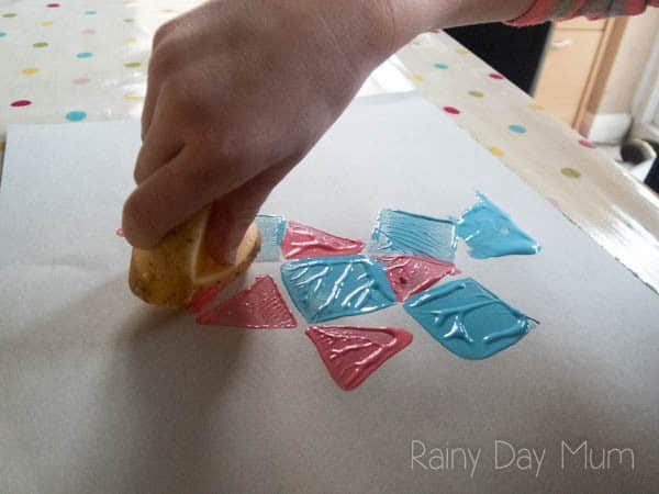 Potato Printing Tessellation - combine art and maths to create tessellation patterns and talk about shape facts and pattern making