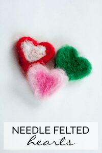 Getting kids started with Needle Felting - a simple Needle Felted hearts. An ideal Valentine's Day Craft for you and kids to do together