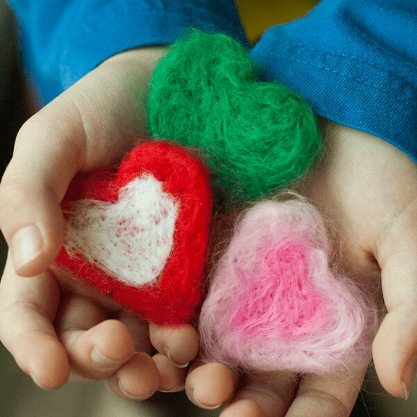 simple needle felted hearts for kids to make