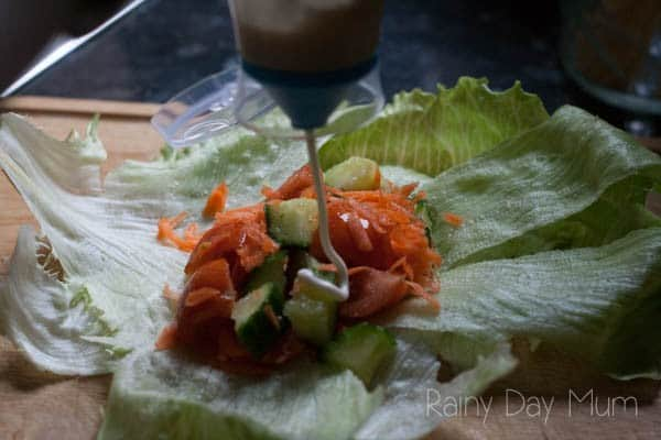 Simple lettuce wraps that kids can make inspired by the classic storybook The Tale of Peter Rabbit