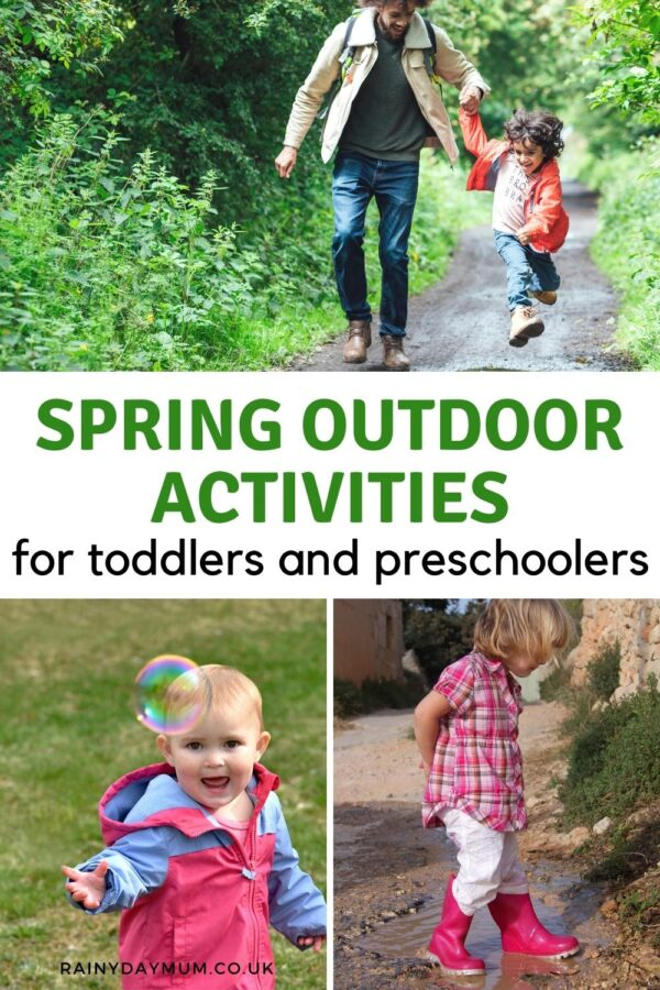 pinterest image of a collage of toddlers and preschoolers with family enjoying the outdoors in spring