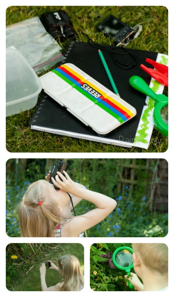 collage of a simple nature explorers kit you can put together at home plus kids using the equipment to explore the natural world in the summer