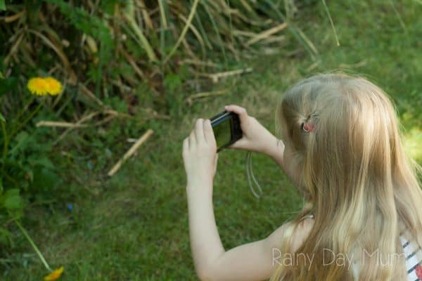 girl using a digital camera to take pictures of the flowers and plants that she finds on her nature walks