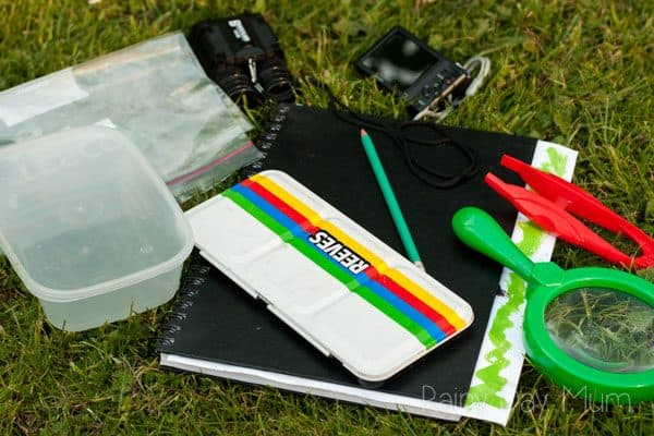 basic equipment for a nature study kit, plastic bag, box with lid, binoculars, mini camera, journal, pencil, watercolour paints, magnifying glass and tweezers on the grass