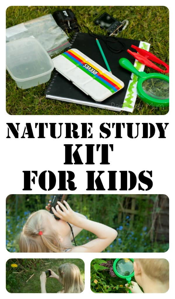 Pinterest image for a DIY Nature Study Kit with images of the kids using the basic equipment to record the nature finds around them.