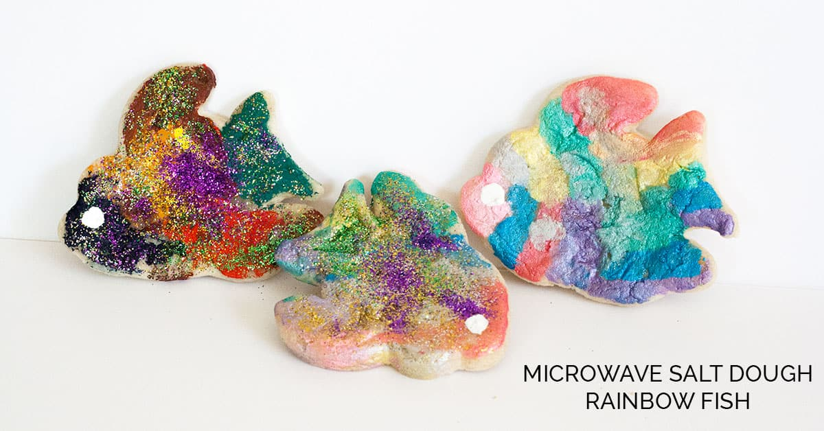 Microwave Salt Dough Rainbow Fish Craft for Kids