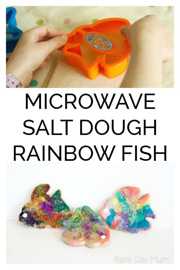 Microwave Salt Dough Recipe and cute rainbow fish craft. Ideal for making with your kids or in a classroom as instead of waiting hours for the salt dough to dry out it's ready in minutes to paint and decorate.
