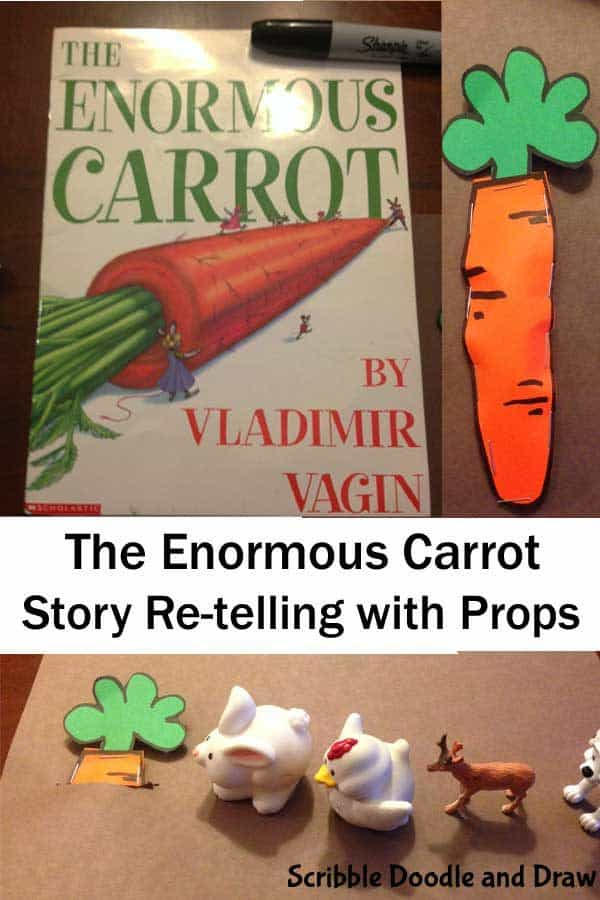 Create your own storytelling props for the classic Kindergarten tale of The Enormous Carrot by Vladmir Vagin and help children with reading comprehension.