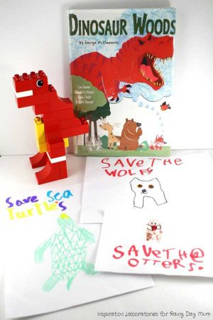 Through books and activities teach a conservation lesson to kids. The book Dinosaur Woods is an excellent choice with LEGO Dino's and Posters to create.