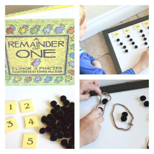 Hands-on division activity based on the book Remainder of One, linking learning with books and maths
