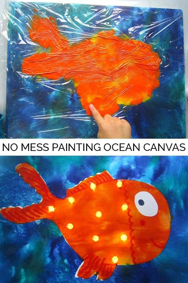 "No mess painting technique perfect for kids that hate to get messy and produce a beautiful ""bright"" canvas the little extra would make it a perfect addition to a kids bedroom"