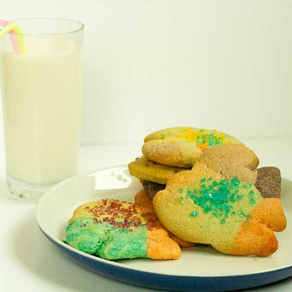 Super easy Rainbow Fish Egg-Free Sugar Cookie Recipe perfect to make with kids especially those that love to eat the cookie dough as you make it!