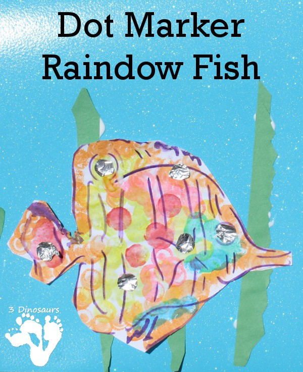 Dot marker art bringing alive the fantastic children's storybook the Rainbow Fish by Marcus Pfister