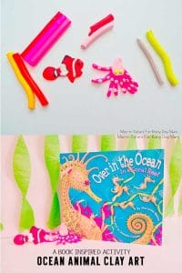 Ocean Animal Clay Art to go with Over In the Ocean In A Coral Reef is great for an Ocean theme for toddlers, preschoolers, and school aged kids.