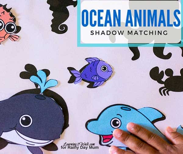 Early Preschool and Toddler Ocean Themed Matching Activity ideal for some summer learning before starting preschool in the fall.