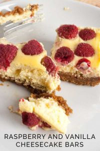 Delicious summer dessert recipe for Raspberry and Vanilla Cheesecake Bars with a gingernut crust