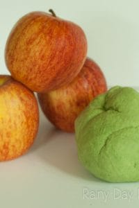 A simple 2-ingredient, super soft and smooth apple scented playdough recipe and suggestions for math-based activities for toddlers and preschool kids.