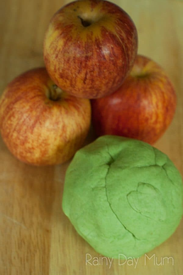 2-Ingredient Quick and Easy Apple Scented Playdough Recipe