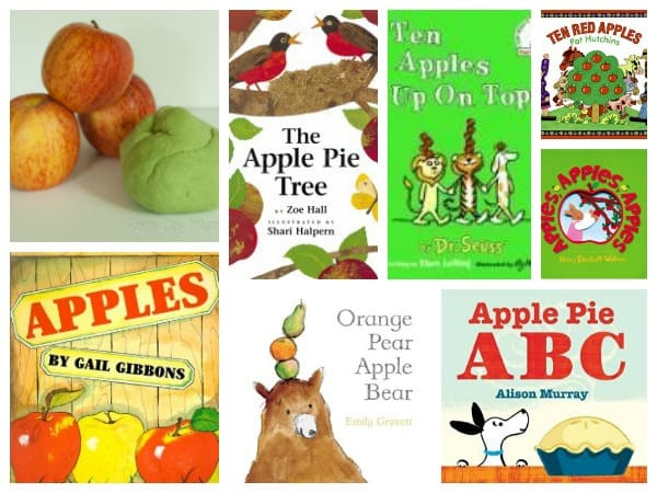 Apple themed books and playdough for toddlers and preschooler ideal for a is for apple or apple week