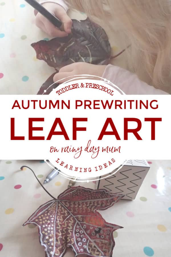 autumn leaf prewriting activity for preschoolers