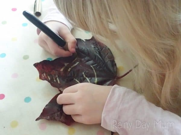 preschool art activity for autumn decorating leaves with metallic markers