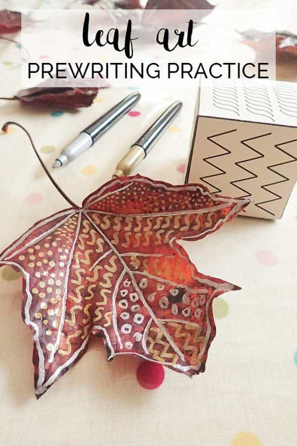 Pinterest image for a leaf art activity for preschool to practice prewriting skills